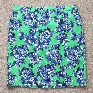 J. Crew green and blue floral pencil skirt sz 14